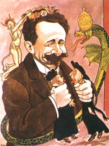 Caricatura de 1914 mostrando Afonso Costa a estrangular os jesuítas e ameaçado pela serpente do Vaticano.