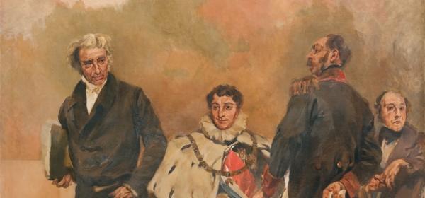 Painel de Columbano Bordalo Pinheiro, retratando Mouzinho da Silveira, Duque de Palmela, Duque de Saldanha e José da Silva Carvalho, Miguel Saavedra, 2013.
