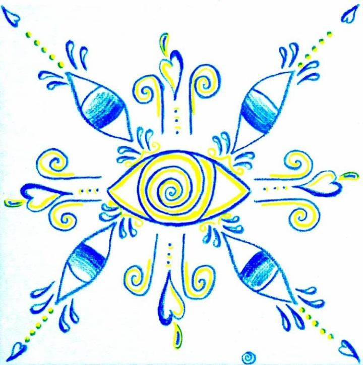 Novo Azulejo com Olho de Boi, 20x20x1.5, tinta da china sobre tela